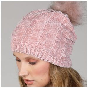 Blush pink soft chenille faux fur pom beanie